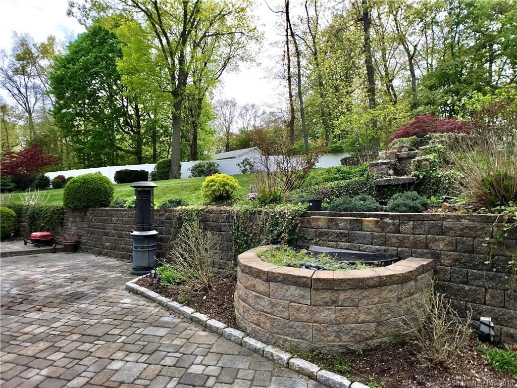 Water feature and mature plantings stone wall 2 Duck Pond, Norwalk, Connecticut 06855