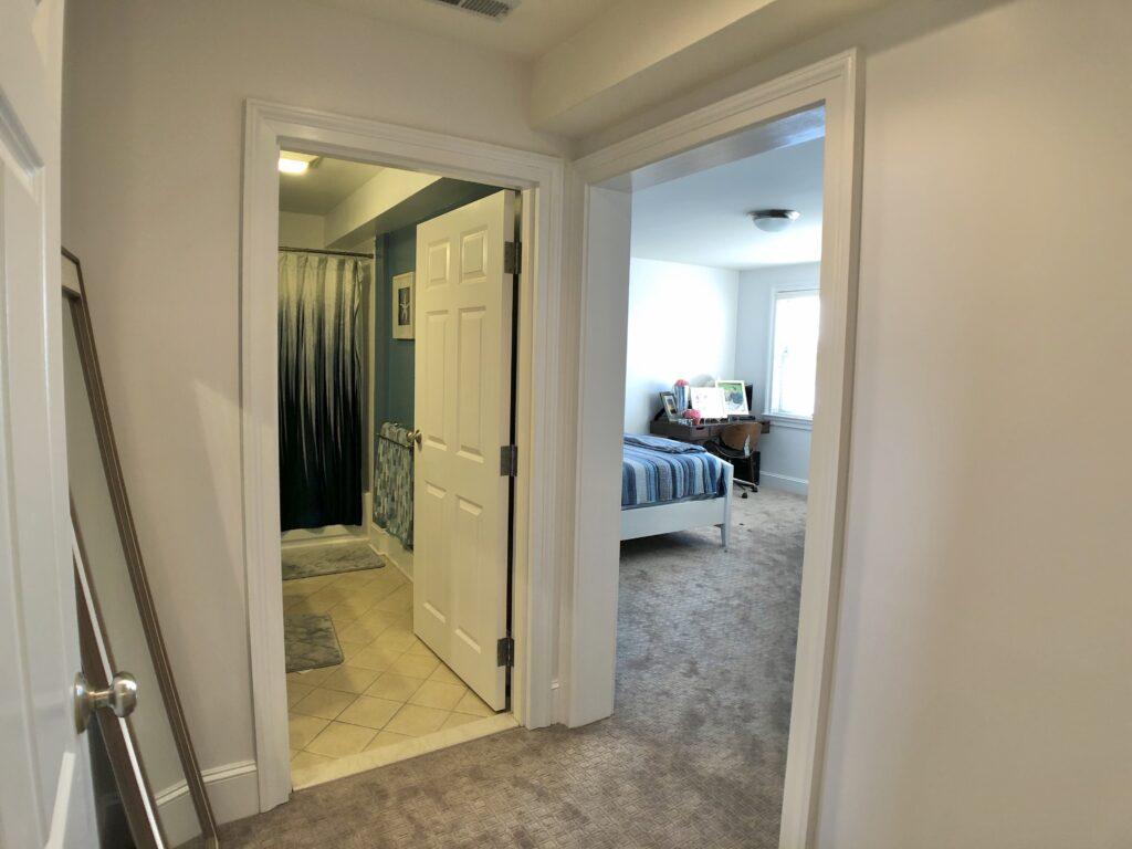 Master Bedroom Entry hall looking into bath & bedroom